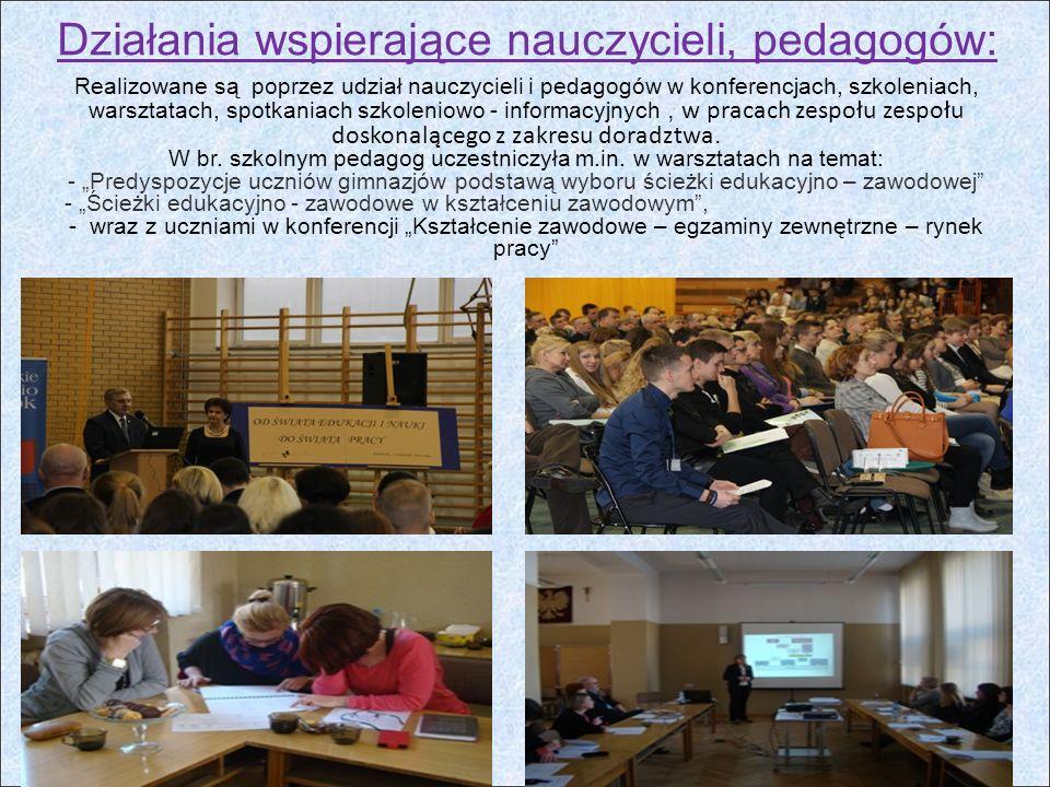 Działania wspierające nauczycieli, pedagogów: Realizowane są poprzez udział nauczycieli i pedagogów w konferencjach, szkoleniach, warsztatach, spotkaniach szkoleniowo - informacyjnych, w pracach zespołu zespołu doskonalącego z zakresu doradztwa.