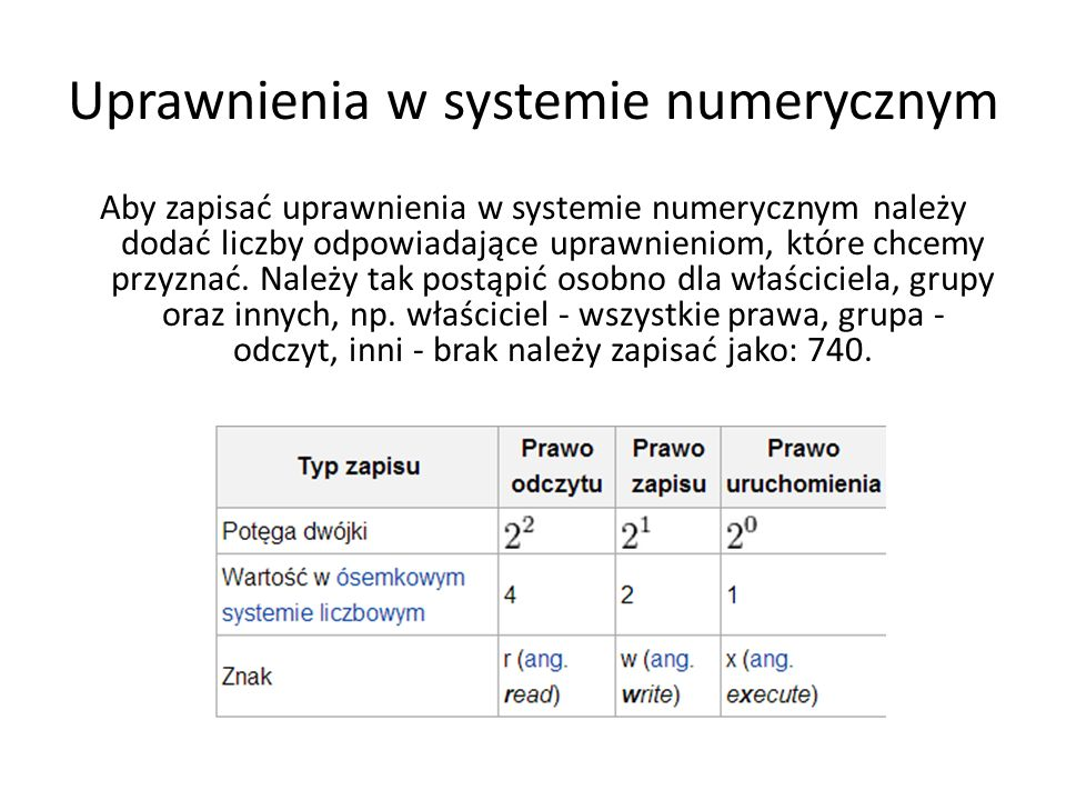 Uprawnienia w systemie znakowym Aby zapisać uprawnienia w systemie znakowym należy wpisać znak u, g, o lub a następnie znak: + jeżeli chcemy dodać uprawnienia, - jeżeli chcemy odebrać uprawnienia, = jeżeli chcemy zmienić uprawnienia (tzn.