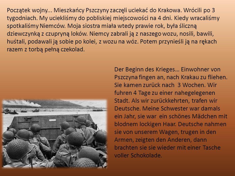 Początek wojny... Mieszkańcy Pszczyny zaczęli uciekać do Krakowa.
