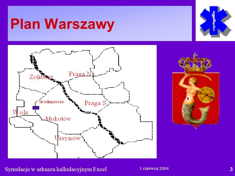 Symulacje w arkuszu kalkulacyjnym Excel3 1 czerwca 2004 Plan Warszawy