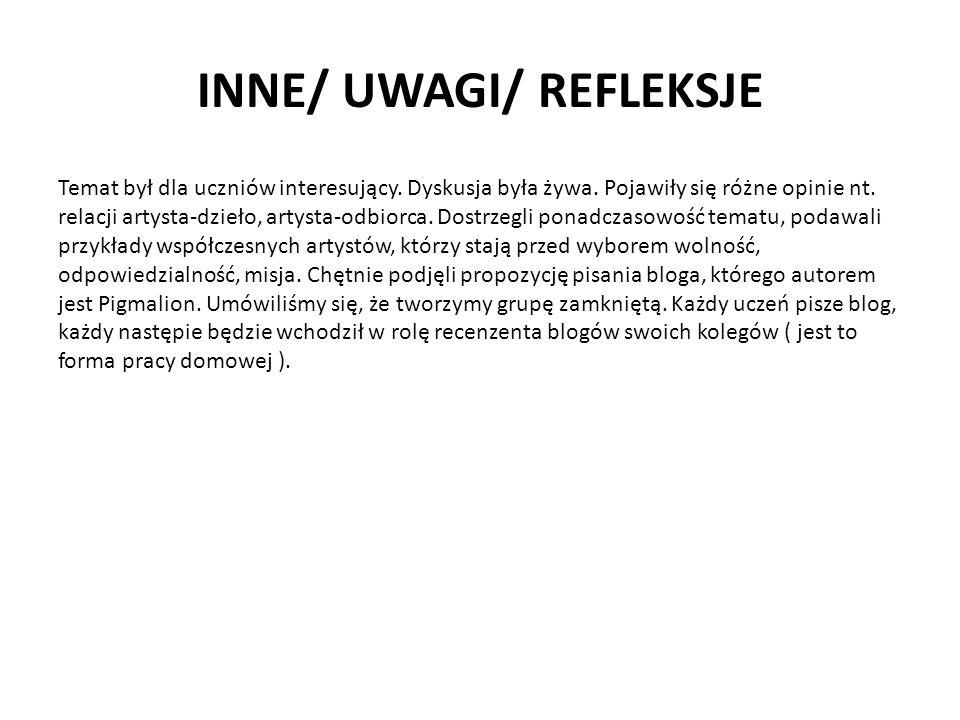 INNE/ UWAGI/ REFLEKSJE Temat był dla uczniów interesujący.