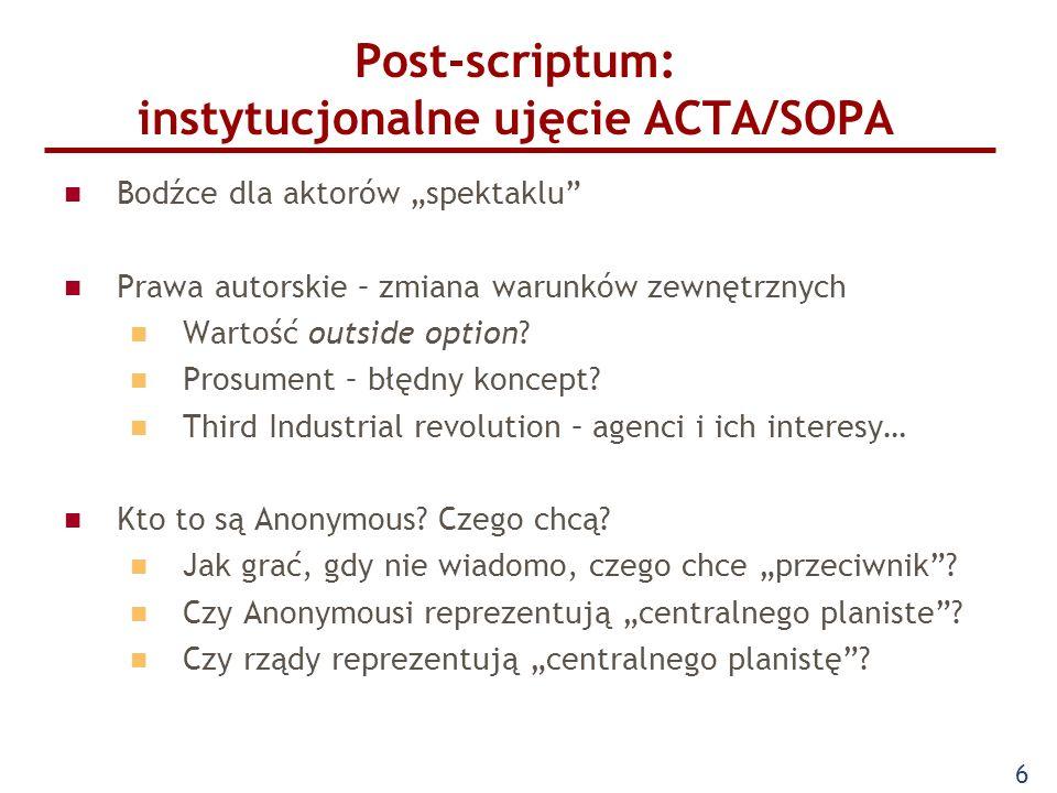 """Post-scriptum: instytucjonalne ujęcie ACTA/SOPA Bodźce dla aktorów """"spektaklu Prawa autorskie – zmiana warunków zewnętrznych Wartość outside option."""