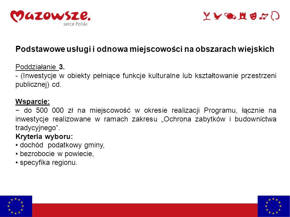 Podstawowe usługi i odnowa miejscowości na obszarach wiejskich Poddziałanie 3.