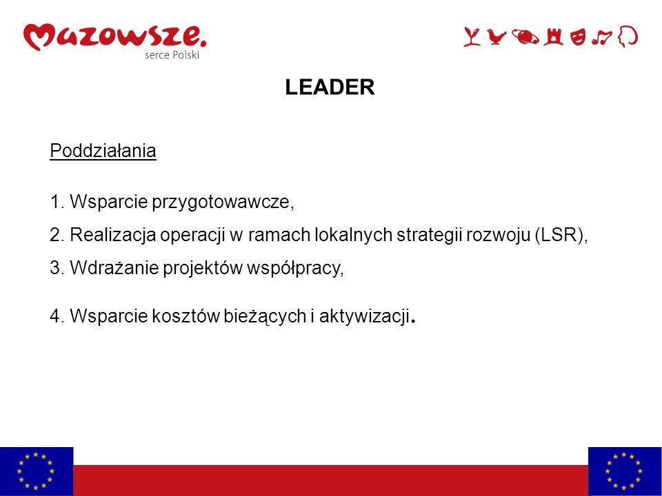 LEADER Poddziałania 1. Wsparcie przygotowawcze, 2. Realizacja operacji w ramach lokalnych strategii rozwoju (LSR), 3. Wdrażanie projektów współpracy,