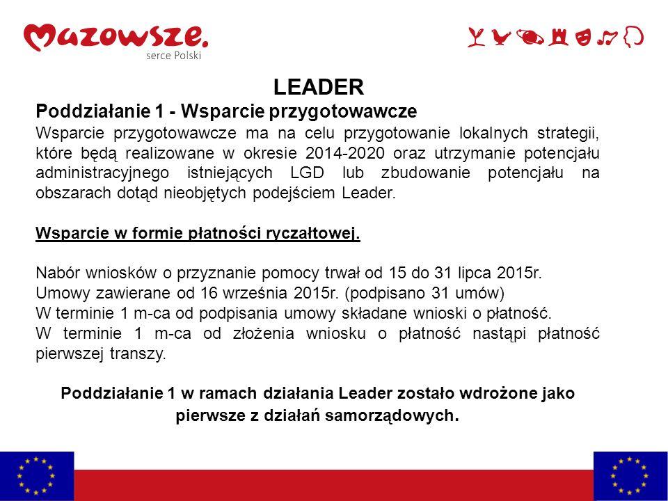 LEADER Poddziałanie 1 - Wsparcie przygotowawcze Wsparcie przygotowawcze ma na celu przygotowanie lokalnych strategii, które będą realizowane w okresie 2014-2020 oraz utrzymanie potencjału administracyjnego istniejących LGD lub zbudowanie potencjału na obszarach dotąd nieobjętych podejściem Leader.