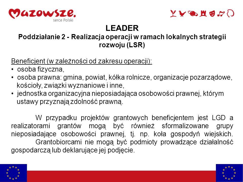 LEADER Poddziałanie 2 - Realizacja operacji w ramach lokalnych strategii rozwoju (LSR) Beneficjent (w zależności od zakresu operacji): osoba fizyczna,
