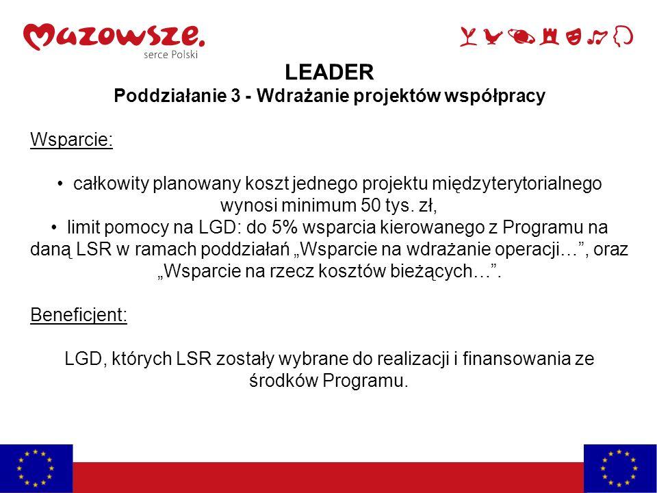 LEADER Poddziałanie 3 - Wdrażanie projektów współpracy Wsparcie: całkowity planowany koszt jednego projektu międzyterytorialnego wynosi minimum 50 tys.