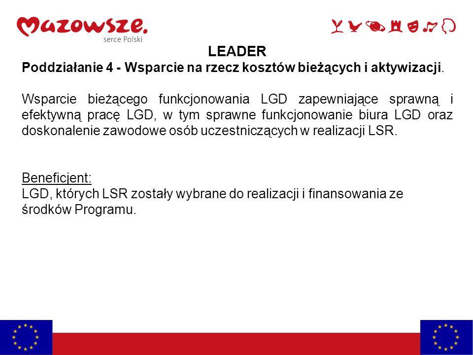 LEADER Poddziałanie 4 - Wsparcie na rzecz kosztów bieżących i aktywizacji. Wsparcie bieżącego funkcjonowania LGD zapewniające sprawną i efektywną prac