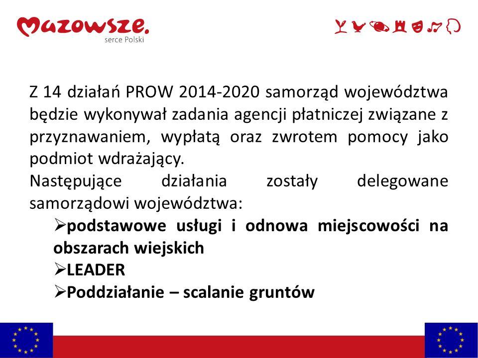 Z 14 działań PROW 2014-2020 samorząd województwa będzie wykonywał zadania agencji płatniczej związane z przyznawaniem, wypłatą oraz zwrotem pomocy jak