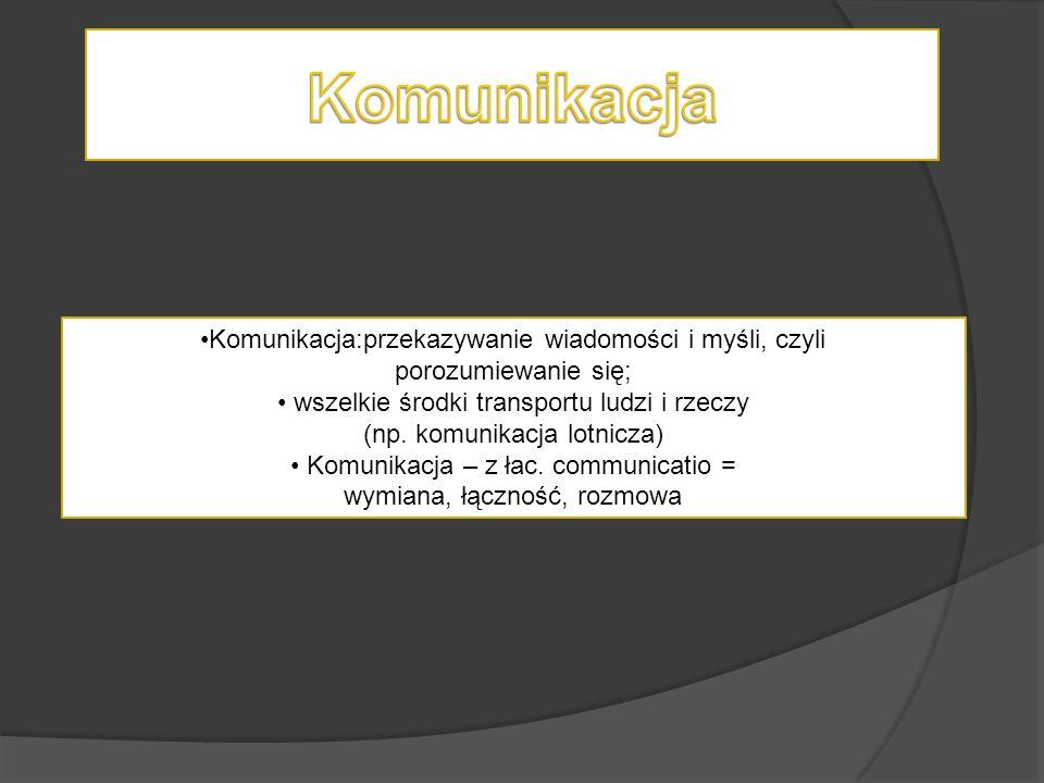 Komunikacja:przekazywanie wiadomości i myśli, czyli porozumiewanie się; wszelkie środki transportu ludzi i rzeczy (np. komunikacja lotnicza) Komunikac