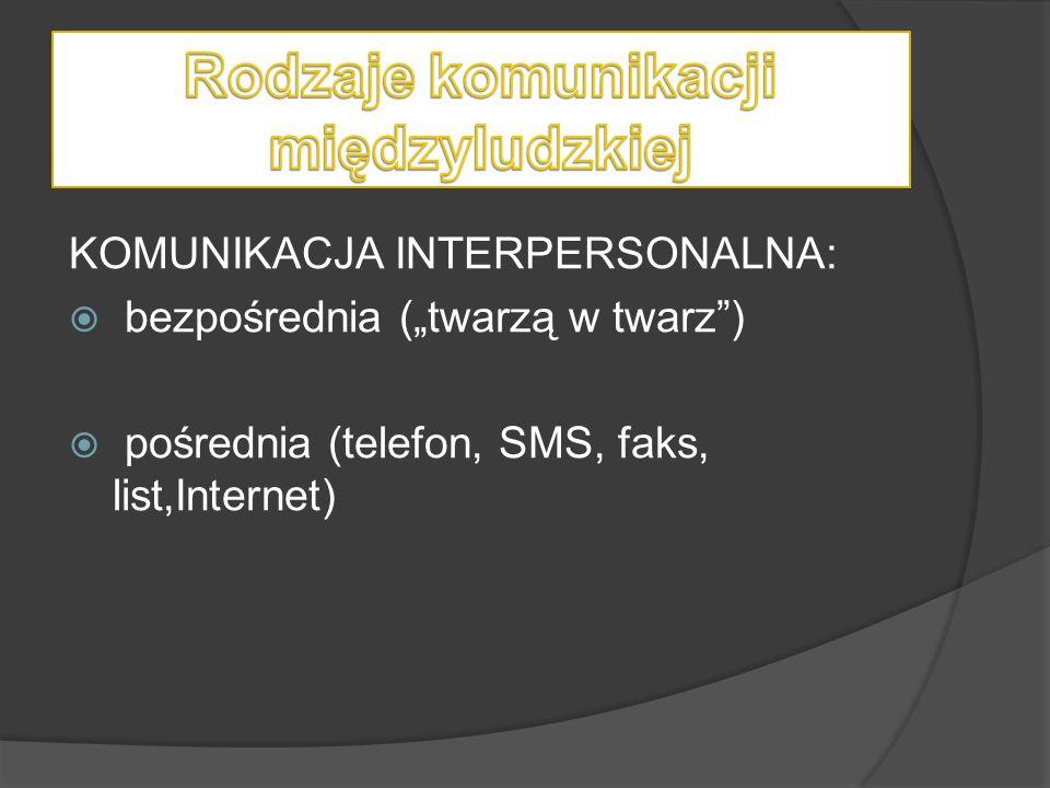 """KOMUNIKACJA INTERPERSONALNA:  bezpośrednia (""""twarzą w twarz"""")  pośrednia (telefon, SMS, faks, list,Internet)"""