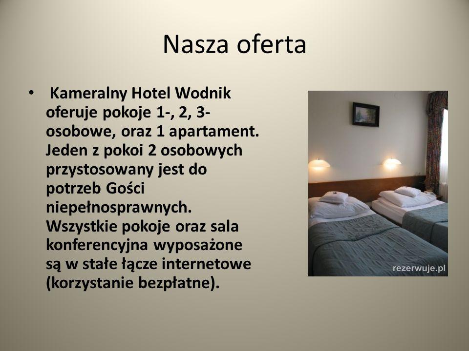 Nasza oferta Kameralny Hotel Wodnik oferuje pokoje 1-, 2, 3- osobowe, oraz 1 apartament. Jeden z pokoi 2 osobowych przystosowany jest do potrzeb Gości