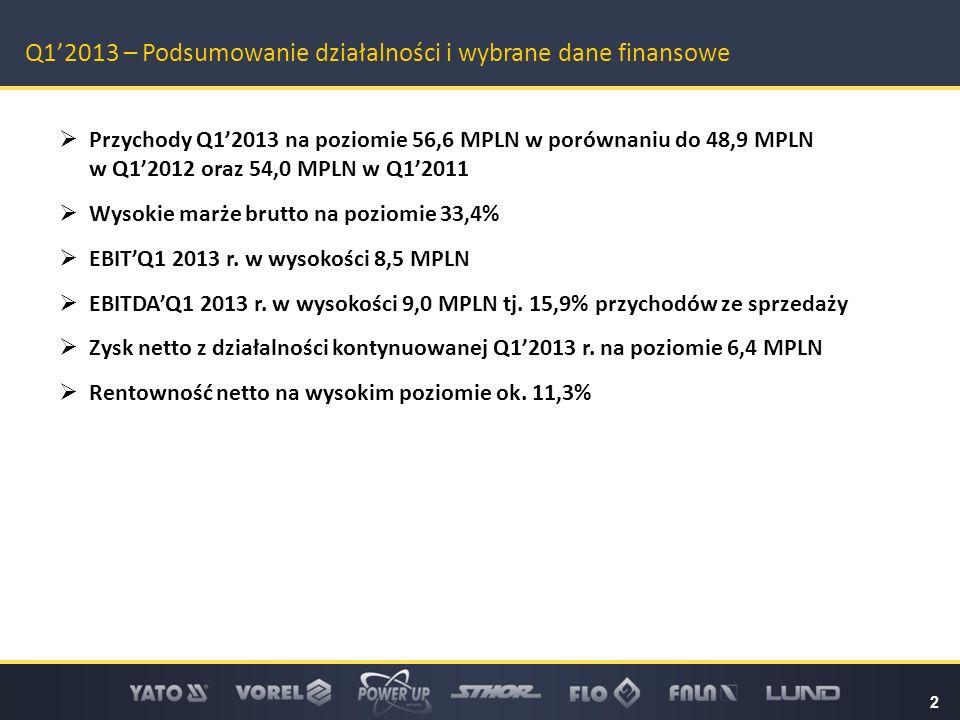 2 Q1'2013 – Podsumowanie działalności i wybrane dane finansowe  Przychody Q1'2013 na poziomie 56,6 MPLN w porównaniu do 48,9 MPLN w Q1'2012 oraz 54,0 MPLN w Q1'2011  Wysokie marże brutto na poziomie 33,4%  EBIT'Q1 2013 r.