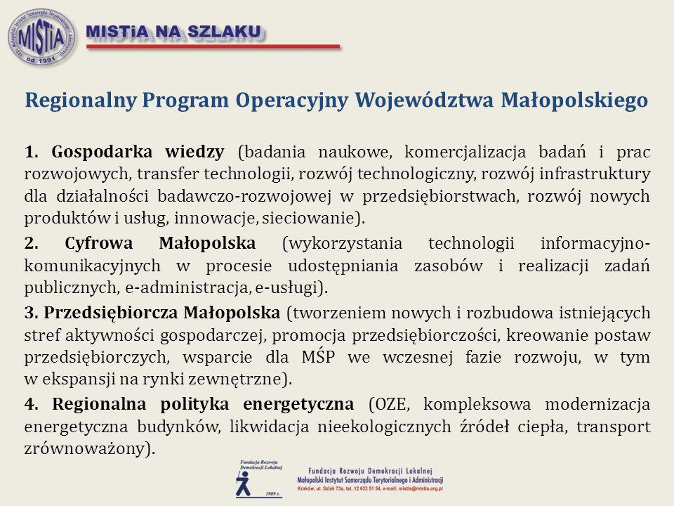 1. Gospodarka wiedzy (badania naukowe, komercjalizacja badań i prac rozwojowych, transfer technologii, rozwój technologiczny, rozwój infrastruktury dl
