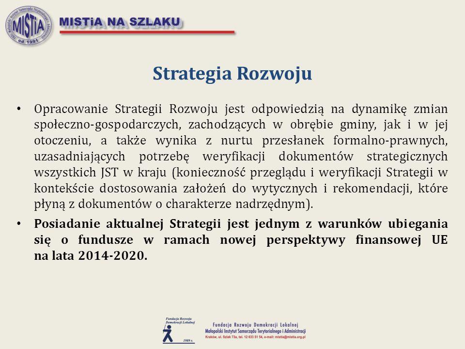 Opracowanie Strategii Rozwoju jest odpowiedzią na dynamikę zmian społeczno-gospodarczych, zachodzących w obrębie gminy, jak i w jej otoczeniu, a także