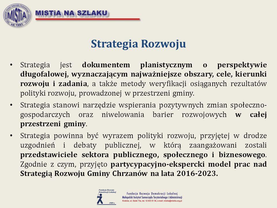 Strategia jest dokumentem planistycznym o perspektywie długofalowej, wyznaczającym najważniejsze obszary, cele, kierunki rozwoju i zadania, a także me