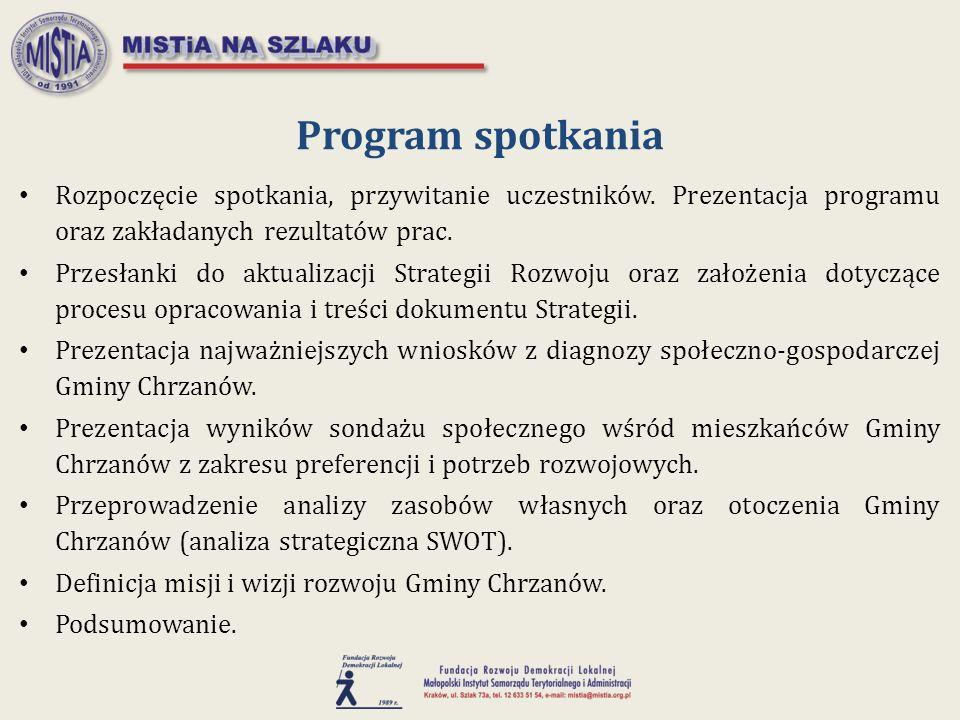 Przesłanki do aktualizacji Strategii Rozwoju Zmieniająca się sytuacja gospodarcza i społeczna wewnątrz gminy, jak i w jej otoczeniu – reagowanie na nowe warunki rozwojowe; Nowy paradygmat polityki regionalnej; Nowe i zaktualizowane dokumenty strategiczne szczebla wspólnotowego, krajowego i regionalnego – spójność z ich priorytetami; Oparcie systemu realizacji polityki regionalnej o zasadę wieloszczeblowego zarządzania procesami rozwojowymi – strategia wspólnoty lokalnej; Nowy okres programowania funduszy Unii Europejskiej na lata 2014-2020; Stworzenie podstaw dla endogenicznego rozwoju w nowym wymiarze polityki spójności UE po 2020 roku.