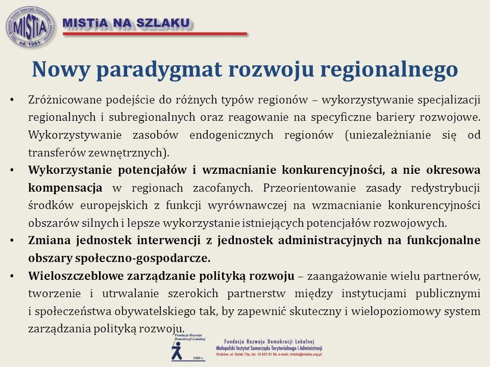 Nowy paradygmat rozwoju regionalnego Zróżnicowane podejście do różnych typów regionów – wykorzystywanie specjalizacji regionalnych i subregionalnych o