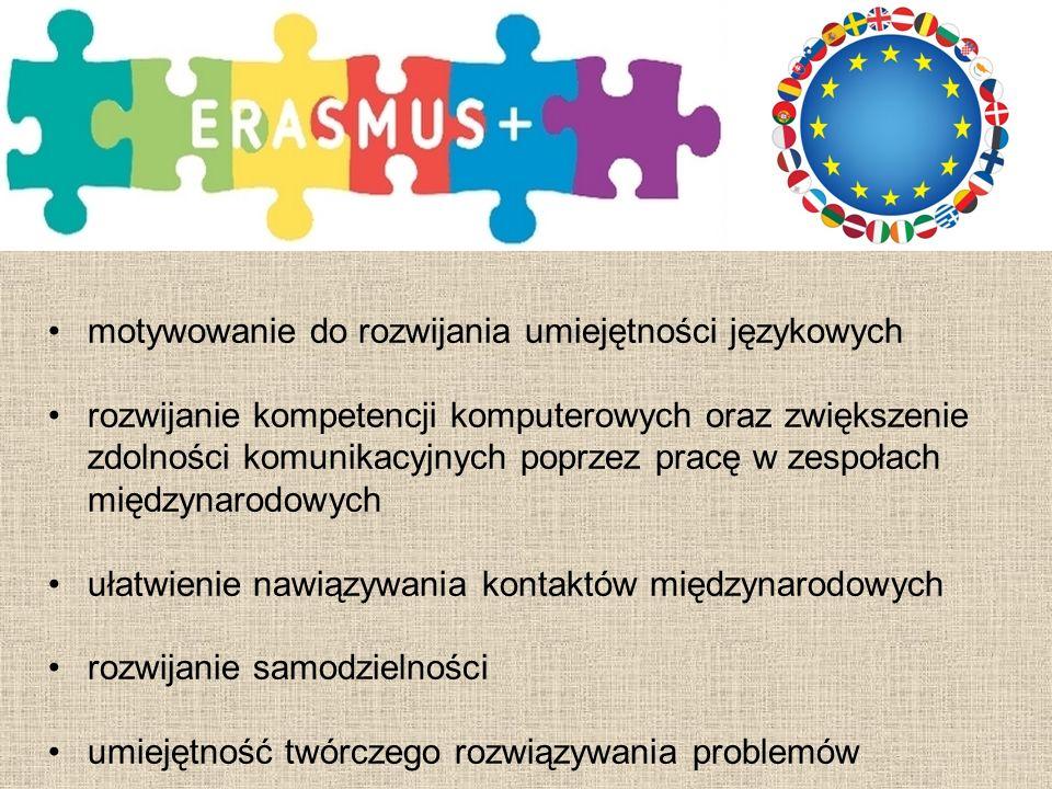 motywowanie do rozwijania umiejętności językowych rozwijanie kompetencji komputerowych oraz zwiększenie zdolności komunikacyjnych poprzez pracę w zespołach międzynarodowych ułatwienie nawiązywania kontaktów międzynarodowych rozwijanie samodzielności umiejętność twórczego rozwiązywania problemów