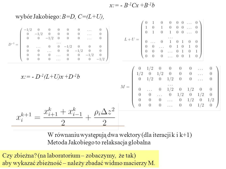 wybór Jakobiego: B=D, C=(L+U), x:= - D -1 (L+U)x +D -1 b W równaniu występują dwa wektory (dla iteracji k i k+1) Metoda Jakobiego to relaksacja globalna Czy zbieżna.
