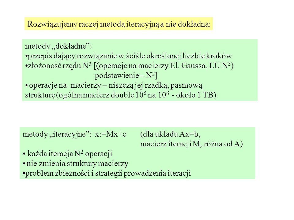 """metody """"dokładne : przepis dający rozwiązanie w ściśle określonej liczbie kroków złożoność rzędu N 3 [(operacje na macierzy El."""