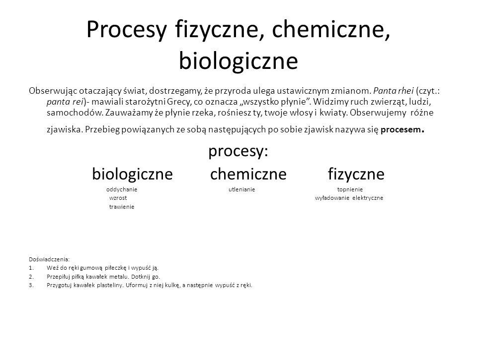 Procesy fizyczne, chemiczne, biologiczne Obserwując otaczający świat, dostrzegamy, że przyroda ulega ustawicznym zmianom.