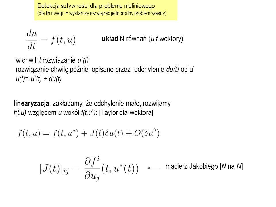 najpierw przykład, potem uogólnienie: zajmiemy się pojedynczym krokiem czasowym t n-1 do t n wielomian, który interpoluje a) wartość funkcji w chwili początkowej b) równanie różniczkowe w 2 dyskretnych punktach jego wartość w chwili t n produkuje u n 3 warunki  potrzebna parabola poszukiwany wielomian, który spełnia warunek początkowy i nachylenie (f) w 2 chwilach t u w(t n )=u n