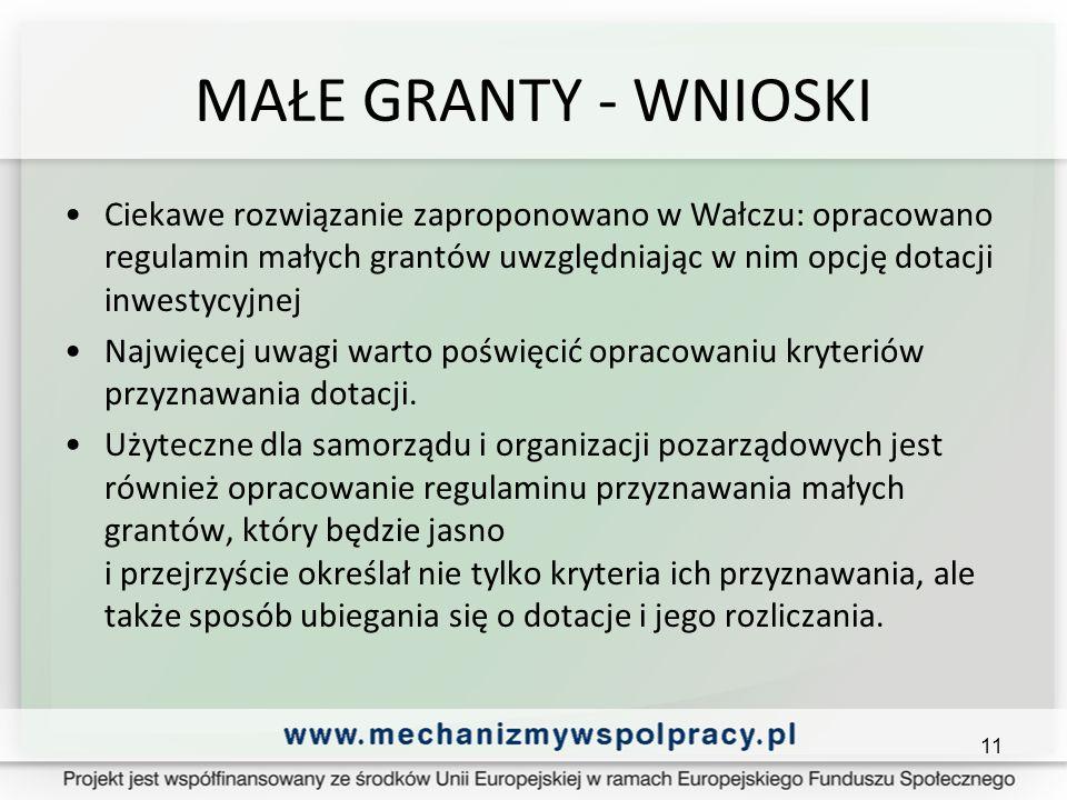 MAŁE GRANTY - WNIOSKI Ciekawe rozwiązanie zaproponowano w Wałczu: opracowano regulamin małych grantów uwzględniając w nim opcję dotacji inwestycyjnej Najwięcej uwagi warto poświęcić opracowaniu kryteriów przyznawania dotacji.