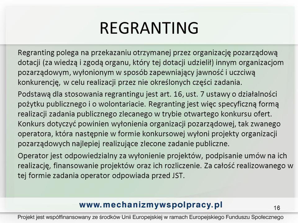 REGRANTING Regranting polega na przekazaniu otrzymanej przez organizację pozarządową dotacji (za wiedzą i zgodą organu, który tej dotacji udzielił) innym organizacjom pozarządowym, wyłonionym w sposób zapewniający jawność i uczciwą konkurencję, w celu realizacji przez nie określonych części zadania.