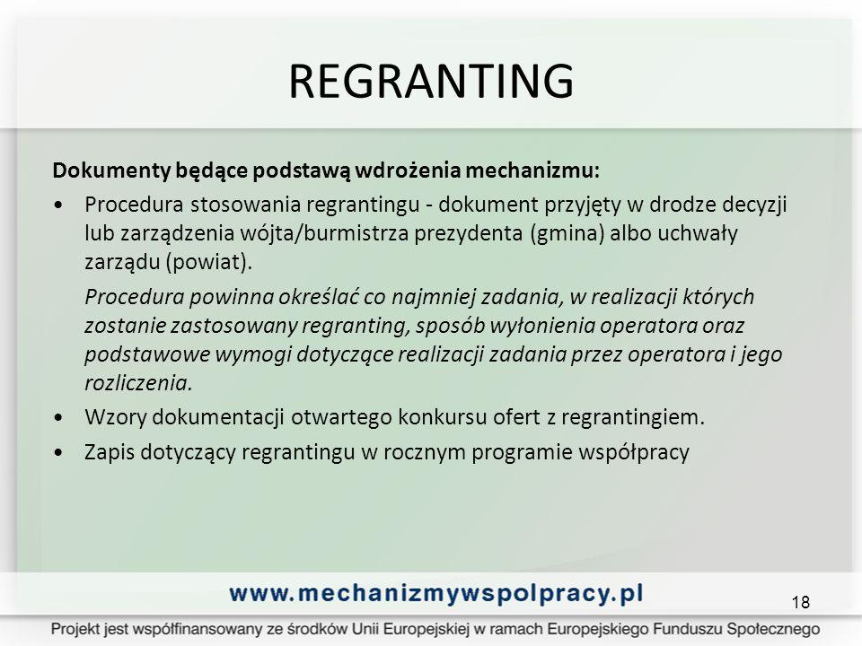 REGRANTING Dokumenty będące podstawą wdrożenia mechanizmu: Procedura stosowania regrantingu - dokument przyjęty w drodze decyzji lub zarządzenia wójta/burmistrza prezydenta (gmina) albo uchwały zarządu (powiat).