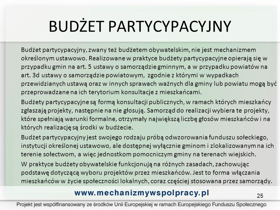 BUDŻET PARTYCYPACYJNY Budżet partycypacyjny, zwany też budżetem obywatelskim, nie jest mechanizmem określonym ustawowo.