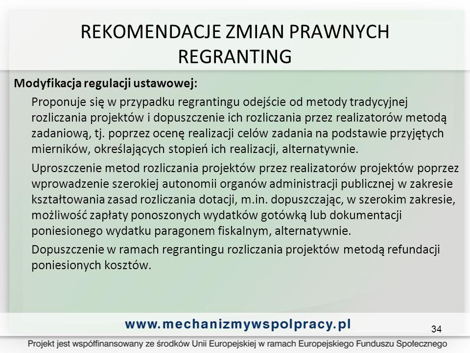 REKOMENDACJE ZMIAN PRAWNYCH REGRANTING Modyfikacja regulacji ustawowej: Proponuje się w przypadku regrantingu odejście od metody tradycyjnej rozliczania projektów i dopuszczenie ich rozliczania przez realizatorów metodą zadaniową, tj.