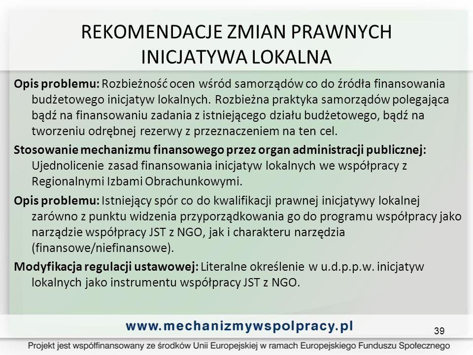 REKOMENDACJE ZMIAN PRAWNYCH INICJATYWA LOKALNA Opis problemu: Rozbieżność ocen wśród samorządów co do źródła finansowania budżetowego inicjatyw lokalnych.