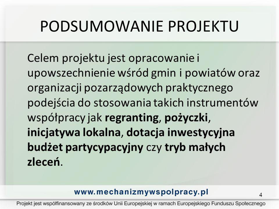 PODSUMOWANIE PROJEKTU Celem projektu jest opracowanie i upowszechnienie wśród gmin i powiatów oraz organizacji pozarządowych praktycznego podejścia do stosowania takich instrumentów współpracy jak regranting, pożyczki, inicjatywa lokalna, dotacja inwestycyjna budżet partycypacyjny czy tryb małych zleceń.