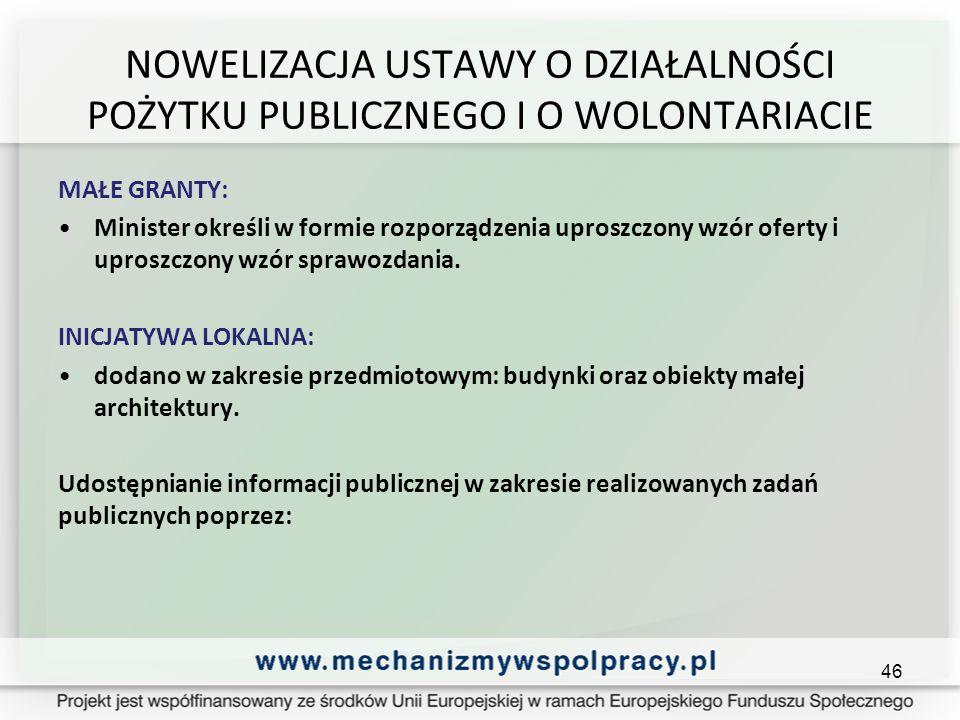 NOWELIZACJA USTAWY O DZIAŁALNOŚCI POŻYTKU PUBLICZNEGO I O WOLONTARIACIE MAŁE GRANTY: Minister określi w formie rozporządzenia uproszczony wzór oferty i uproszczony wzór sprawozdania.
