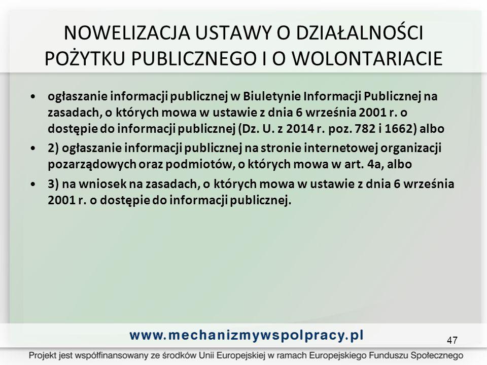 NOWELIZACJA USTAWY O DZIAŁALNOŚCI POŻYTKU PUBLICZNEGO I O WOLONTARIACIE ogłaszanie informacji publicznej w Biuletynie Informacji Publicznej na zasadach, o których mowa w ustawie z dnia 6 września 2001 r.