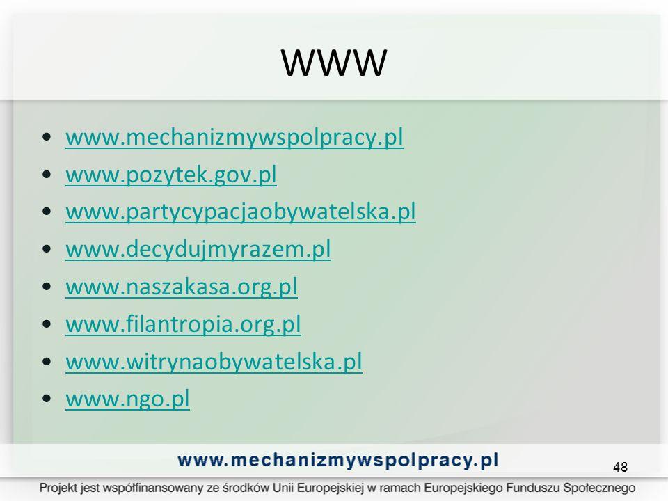 WWW www.mechanizmywspolpracy.pl www.pozytek.gov.pl www.partycypacjaobywatelska.pl www.decydujmyrazem.pl www.naszakasa.org.pl www.filantropia.org.pl www.witrynaobywatelska.pl www.ngo.pl 48