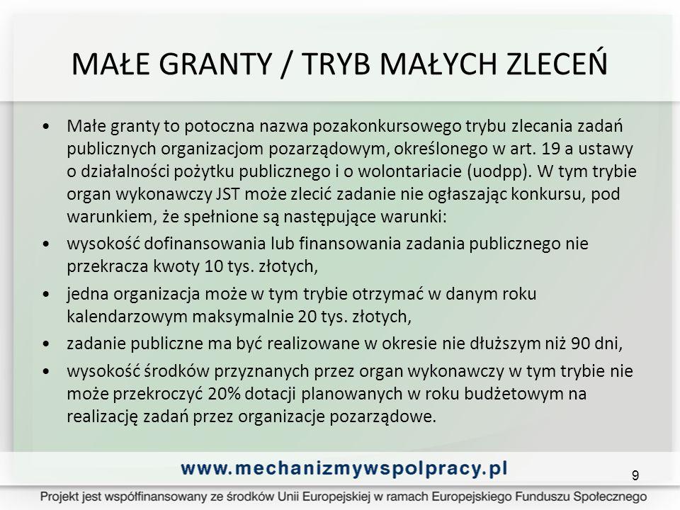MAŁE GRANTY / TRYB MAŁYCH ZLECEŃ Małe granty to potoczna nazwa pozakonkursowego trybu zlecania zadań publicznych organizacjom pozarządowym, określonego w art.