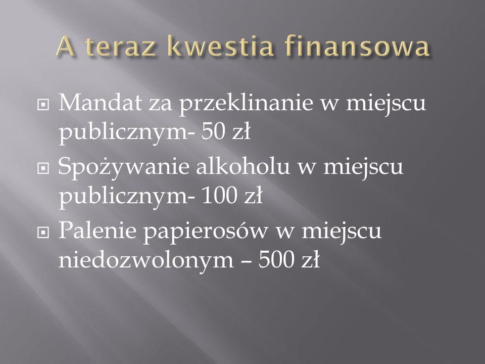  Mandat za przeklinanie w miejscu publicznym- 50 zł  Spożywanie alkoholu w miejscu publicznym- 100 zł  Palenie papierosów w miejscu niedozwolonym – 500 zł