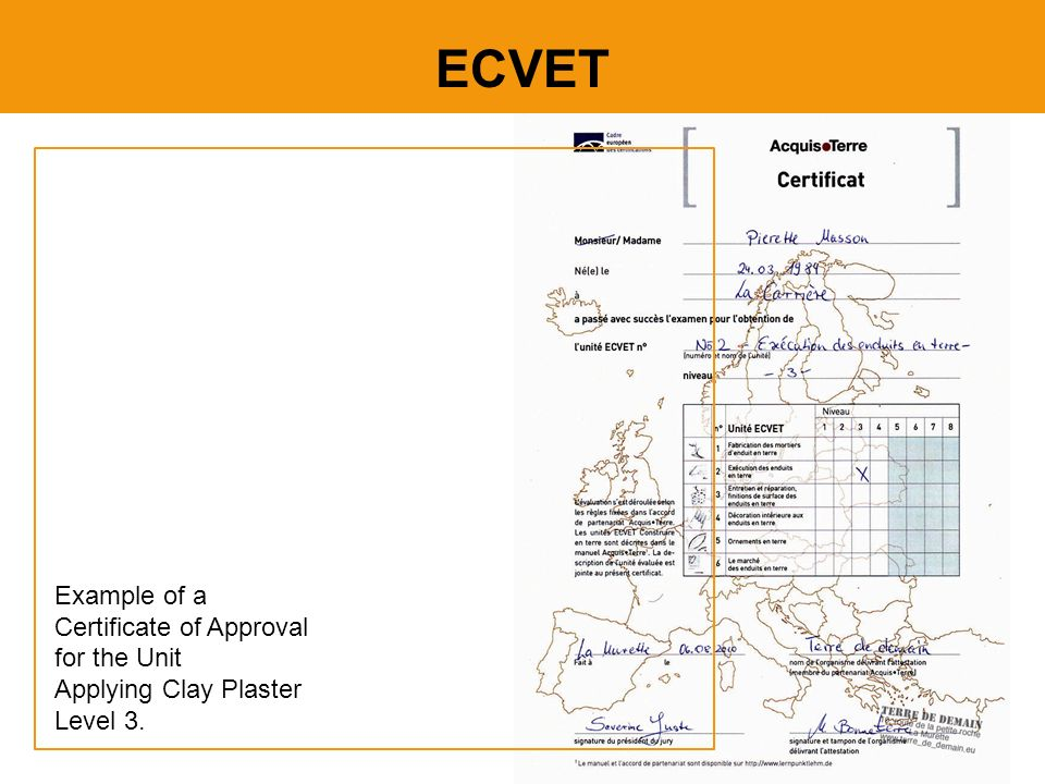 ECVET Example of a Certificate of Approval for the Unit Applying Clay Plaster Level 3.