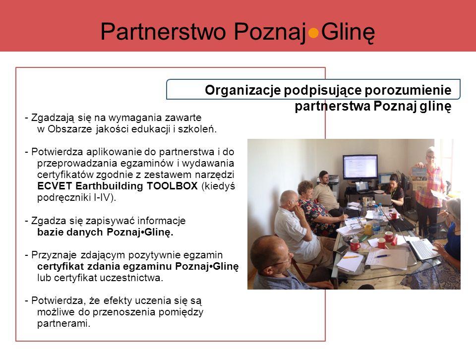 Organizacje podpisujące porozumienie partnerstwa Poznaj glinę - Zgadzają się na wymagania zawarte w Obszarze jakości edukacji i szkoleń.