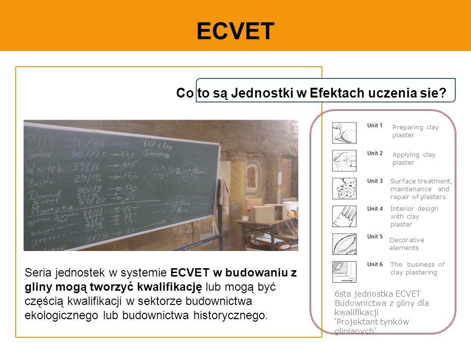 ECVET Seria jednostek w systemie ECVET w budowaniu z gliny mogą tworzyć kwalifikację lub mogą być częścią kwalifikacji w sektorze budownictwa ekologicznego lub budownictwa historycznego.