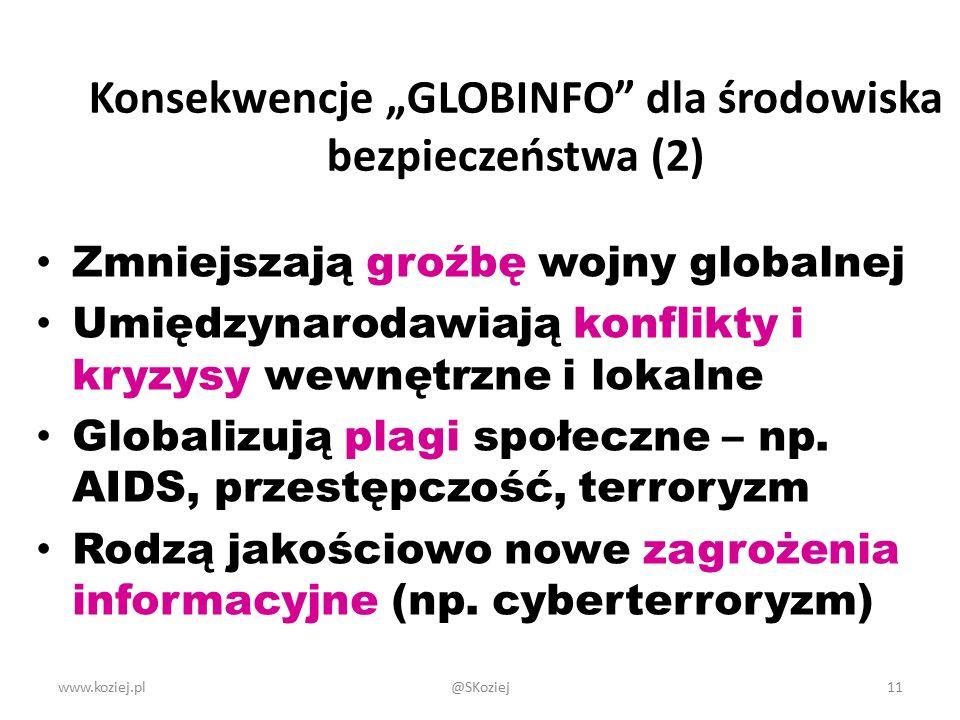 """www.koziej.pl11 Konsekwencje """"GLOBINFO dla środowiska bezpieczeństwa (2) Zmniejszają groźbę wojny globalnej Umiędzynarodawiają konflikty i kryzysy wewnętrzne i lokalne Globalizują plagi społeczne – np."""