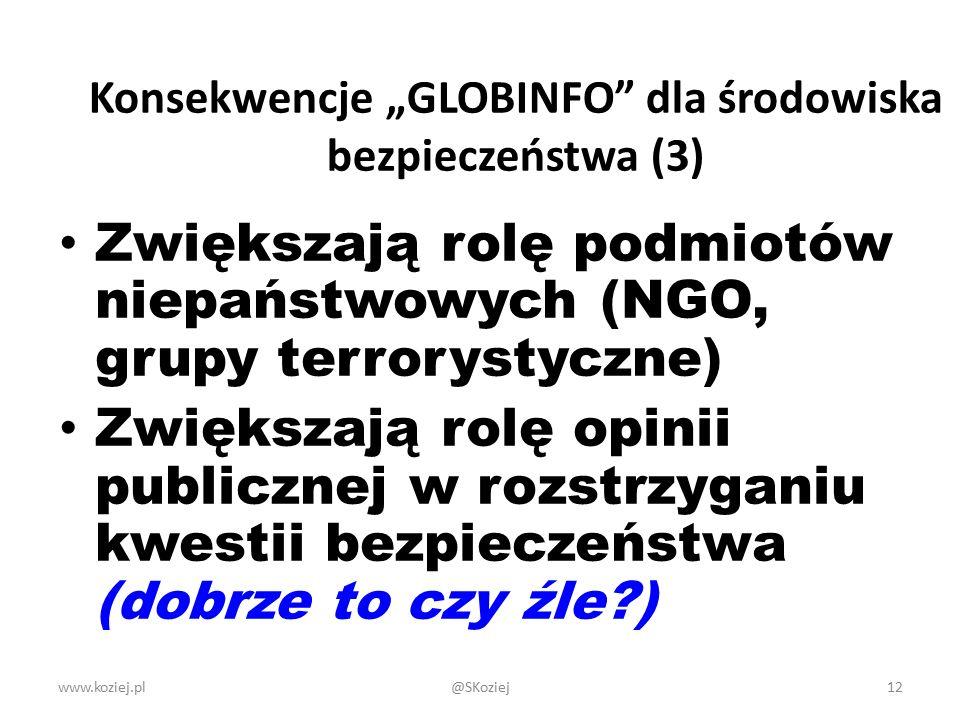 """www.koziej.pl12 Konsekwencje """"GLOBINFO dla środowiska bezpieczeństwa (3) Zwiększają rolę podmiotów niepaństwowych (NGO, grupy terrorystyczne) Zwiększają rolę opinii publicznej w rozstrzyganiu kwestii bezpieczeństwa (dobrze to czy źle?) @SKoziej"""