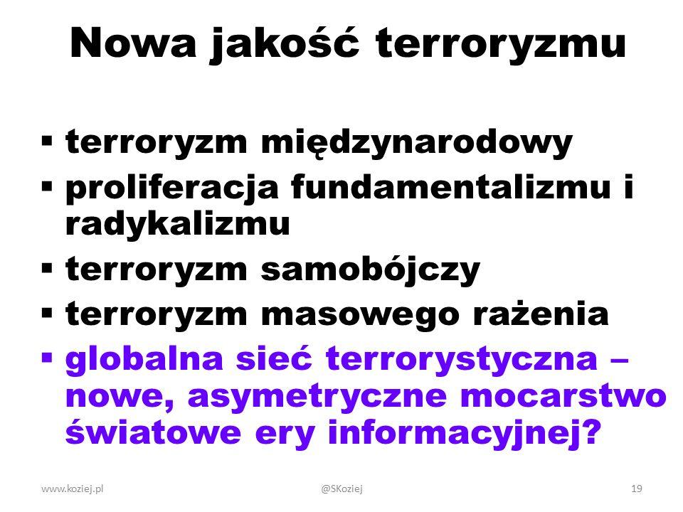 Nowa jakość terroryzmu  terroryzm międzynarodowy  proliferacja fundamentalizmu i radykalizmu  terroryzm samobójczy  terroryzm masowego rażenia  globalna sieć terrorystyczna – nowe, asymetryczne mocarstwo światowe ery informacyjnej.