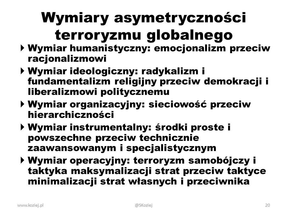 Wymiary asymetryczności terroryzmu globalnego  Wymiar humanistyczny: emocjonalizm przeciw racjonalizmowi  Wymiar ideologiczny: radykalizm i fundamentalizm religijny przeciw demokracji i liberalizmowi politycznemu  Wymiar organizacyjny: sieciowość przeciw hierarchiczności  Wymiar instrumentalny: środki proste i powszechne przeciw technicznie zaawansowanym i specjalistycznym  Wymiar operacyjny: terroryzm samobójczy i taktyka maksymalizacji strat przeciw taktyce minimalizacji strat własnych i przeciwnika www.koziej.pl20@SKoziej