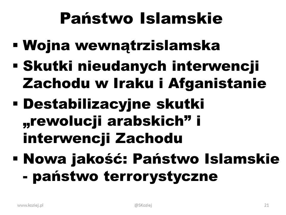 """Państwo Islamskie  Wojna wewnątrzislamska  Skutki nieudanych interwencji Zachodu w Iraku i Afganistanie  Destabilizacyjne skutki """"rewolucji arabskich i interwencji Zachodu  Nowa jakość: Państwo Islamskie - państwo terrorystyczne www.koziej.pl21@SKoziej"""