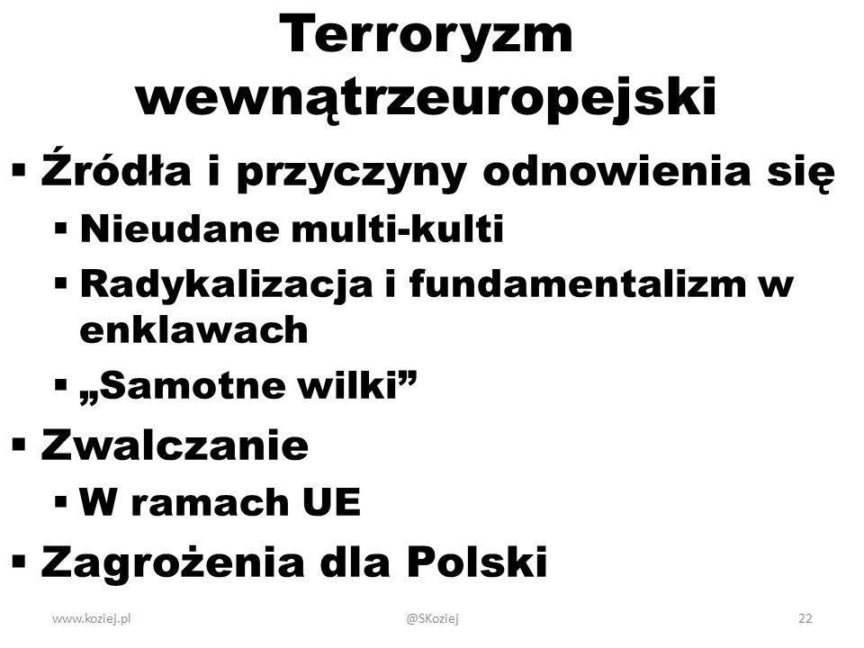 """Terroryzm wewnątrzeuropejski  Źródła i przyczyny odnowienia się  Nieudane multi-kulti  Radykalizacja i fundamentalizm w enklawach  """"Samotne wilki  Zwalczanie  W ramach UE  Zagrożenia dla Polski www.koziej.pl@SKoziej22"""