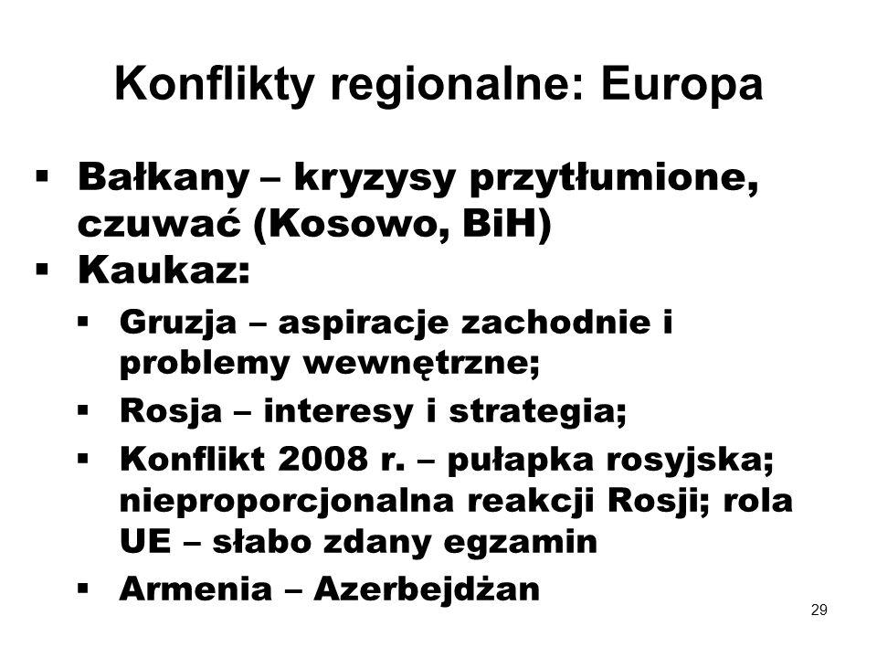  Bałkany – kryzysy przytłumione, czuwać (Kosowo, BiH)  Kaukaz:  Gruzja – aspiracje zachodnie i problemy wewnętrzne;  Rosja – interesy i strategia;  Konflikt 2008 r.
