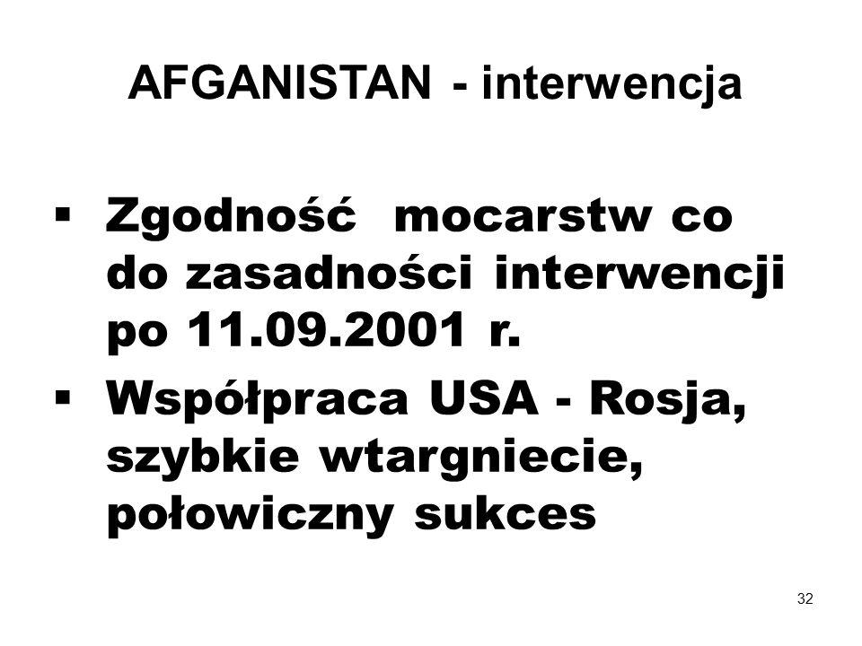  Zgodność mocarstw co do zasadności interwencji po 11.09.2001 r.